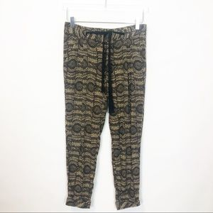 Free People Ashley Linen Printed Cropped Pants XS